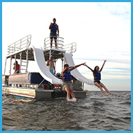 Having fun on the double-decker pontoon boat