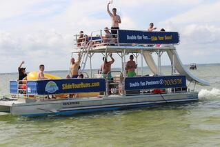 Group on a double-decker pontoon boat
