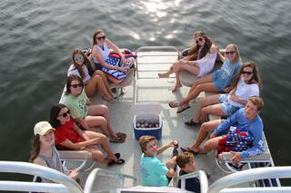 Rent a double-decker pontoon to get to Crab Island