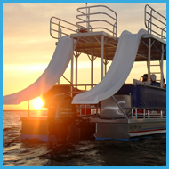 Double-Decker Pontoon Boat with Two Water Slides